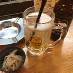 Yottekebakimmarusakaba - ホッピーセット(390円)、もやしナムルは無料サービス