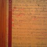 ランデヴー・デ・ザミ - トイレの飾ってあった額には、レシピ(?)