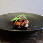 かわ村 - 2017年1月再訪:second タラバ蟹と帆立貝のメダリオーネとフォアグラのポワレ☆