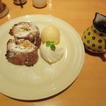 CAFE FREDY - フレンチトースト プレーン&バニラアイス small  セットで1100円