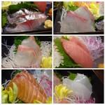 俺の魚を食ってみろ!! - ◆お刺身は「鯵」「カンパチ」「鯛」「中トロ」「鮭」「イカ」の6種類。 どれも新鮮ですが、「中トロ」と「鯵」が美味しい。