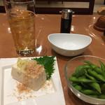 御老公の湯  - 料理写真:湯上がりセット、枝豆はシンプルに茹でたのがいーです