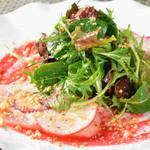 レストラン ビブ - ◆真カジキのカルパッチョ 有機ビーツのヴィネグレット