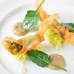 レストラン ビブ - ◆ズワイ蟹と菜の花のパピヨット 菊芋のソース