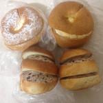61749079 - ベーグルバタクリ、カスタード&クリームチーズ、ドイツコッペ小倉クリーム