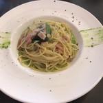 焼津 大切な人と行くイタリアン料理 ヴェント - ベーコンと唐辛子のオイルソースパスタ