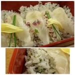 61752988 - ◆鯛ちらし・・軽く〆た「鯛」が盛られたちらしで、ご飯は「菜飯」。 鯛は〆た酢加減もよく美味しいですね。ご飯にお味が付いているので、お醤油も必要ないような。