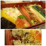 61752991 - ◆ちらし・・アナゴやエビ・ピクルス状のパブリカ、下味を付けたコンニャクなどが盛られ彩がキレイ・・ こちらのご飯には「刻んだ椎茸」「実山椒」などが混ぜられ美味しい。