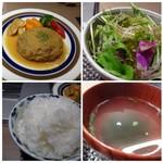61754216 - ◆野菜サラダ ◆ワカメスープ ◆ご飯は普通。ランチ時はお代わり無料だそう。