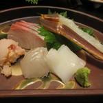 旬魚たつみ - かんぱち、ひらめ、白いか、松葉がに、カレイのこまぶり