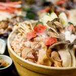 名古屋コーチンとキノコの胡麻風味鍋