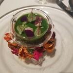 61817313 - 新ジャガイモのブランマンジェ 煮蛤 菜の花の冷たいスープ