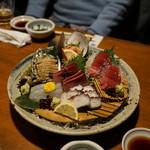 奈加野 - お造り  アワビ、赤貝、平目、蛸、鮪、カツオ等々