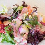 リコス・キッチン - 鮮魚のカルパッチョ、今日はハタとシマアジ☆