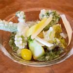 リコス・キッチン - 前菜3皿目は山菜のフリット タラ、こごみ、ふきのとうをハーブのビネグレットソースでいただきます。ヘルシー(*^^*)