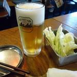 串かつ でんがな - 「生ビール」半額サービスで231円也。
