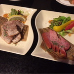 時間無制限食べ飲み放題 和奏 - 厚切り豚バラ肉のステーキと厚切りベーコンのステーキ