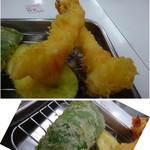 天ぷらのひらお - ◆残り2尾の海老と「ピーマン」