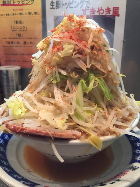 ラーメン 大 蒲田店 - ラーメン 680円(野菜マシマシ + ニンニク + アブラ + 味濃いめ)