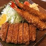 とんかつ藤 - 料理写真:盛り合わせ ヒレ・えび 定食