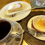 珈琲屋クレセント - ブラジルサントスNo.2 350円、クレームラフィネ、林檎のミルリトン各400円