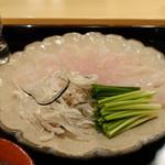 霞町 しろう - 河豚はすだちと塩とあん肝ソースの三つ付き