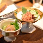 海援丸 - ◉鯛わた塩辛  590円 島根の特産品というわけでは無いでしょうが、酒呑みのココロ擽る一品。 ◉隠岐のこのわた 690円 海鼠(なまこ)の腸を塩辛にしたもので、日本三大珍味のひとつ。