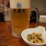 魚寿司 - モルツ生(518円)とお通し(300円)