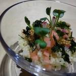 TTOAHISU - ◆マナ鰹とクスクスのお料理。 ビジュアルも美しい。鰹は下に入り上に「クスクス」や「小さくカットしたお野菜」などが盛られています。