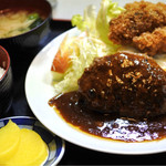 淀ヤ食堂 - 料理写真:ハンバーグ牡蠣フライ定食  1000円