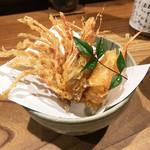 鯛めし 銀家 - お造りの海老頭を天ぷらに♪