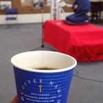 """丘珠キッチン - ホットコーヒー(テイクアウト);""""丘珠寄席(北大落研口演)""""を聞きながら(^^;) @2017/01/29"""