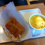 6194568 - ハッシュドポテト、かぼちゃのスープ