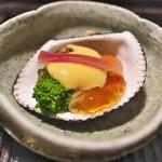 京天神 野口 - ほたて、赤貝などを土佐酢のジュレと酢味噌で。