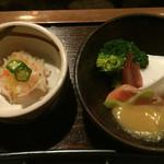宿房 あそ - ウドと胡麻豆腐の酢味噌 ダイコンの酢物