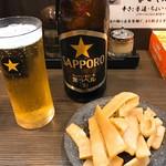 麺や 京水 - 瓶ビール&メンマ
