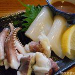 八幸 - いか刺身(肝醤油)