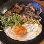 北海道咖喱饂飩 亀 - 「ルスツもち豚の角煮カリー饂飩」1,180円&「ラムしゃぶ」300円