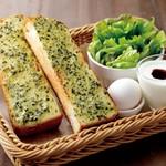 さかい珈琲 - スペシャルモーニングトースト(バジルトースト)