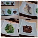 すし・魚処 のへそ - ◆お通し・・「鯖の酢の物(頂けませんのでパス)」「水菜の胡麻和え(これ美味しい)」「お魚の角煮(これもいいお味)」