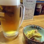 かど屋 - 「生ビール」と「お通し」