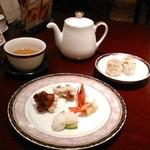 銀座アスター - [料理] 前菜4種 & 点心 (焼売2ヶ) 全景♪w