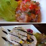 アルバーカロ - ◆*カボナータ・・イタリア料理の定番「野菜のトマト煮」。よく冷やしてあり、お野菜の旨みを感じる品。 *チキン何とか。・・チキンハムのような感じかしら。