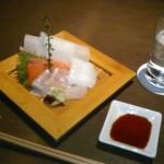 今澤 - [料理] お造り (サーモン & 烏賊) ①