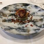 Le Ciel - フォアグラとヒゲダラをムニエルに、下に里芋のエクラゼガレット、赤ワインソースとサラミを繋ぎに