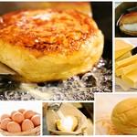 ハッテンドウ カフェ - ☆Hattendo cafe限定の新商品☆定番のくりーむパンを鉄板でフレンチトースト状に目の前で焼き上げ、仕上げに冷やした八天堂のホイップクリームを入れることで、外はアツアツサクサク食感で、中は冷たくとろける食感が味わって頂けるお品となっております。元のくりーむパンは選んで頂き、様々な種類のフレンチバーガーを楽しんで頂けます!※当店のお品は全てテイクアウト可能です!!