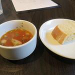 イタリアンバル グラーノドォーロ - スープとパン