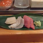 寿し 甚きち - (2012年12月)平貝、ヒラメ、中トロ