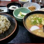 山賊旅路 - だご汁定食(たか菜めし)1,250円