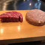 ビフテキのカワムラ - 焼く前のステーキとハンバーグ